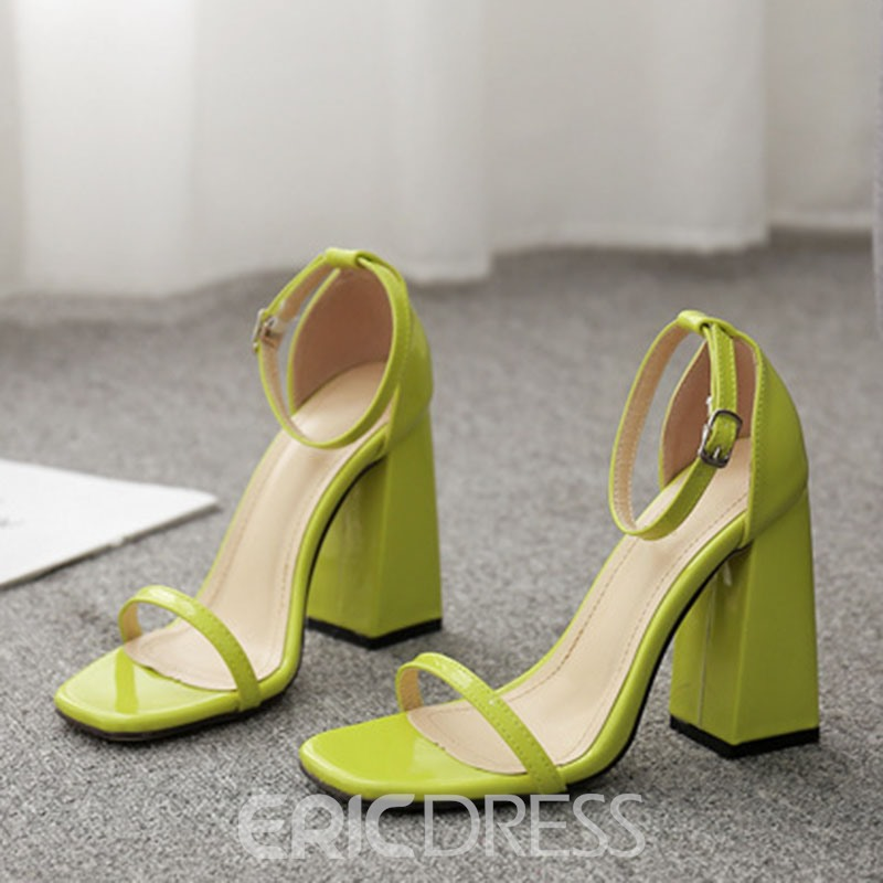 Ericdress PU Chunky Heel Open Toe Women's Sandals