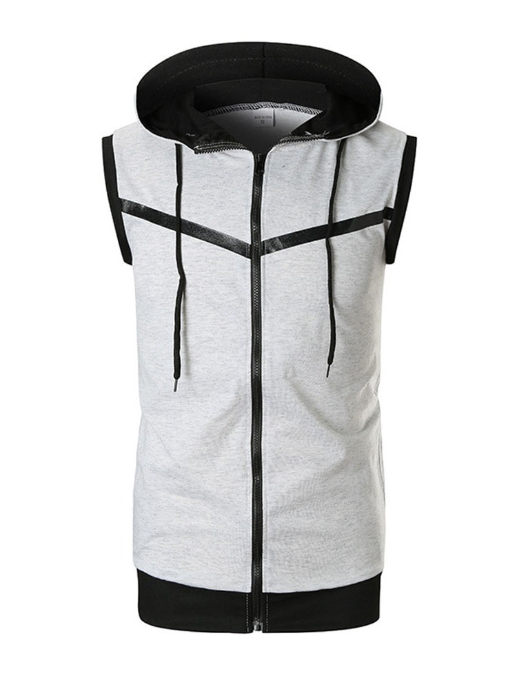 Ericdress Hooded Patchwork Slim Zipper Mens Casual Vest