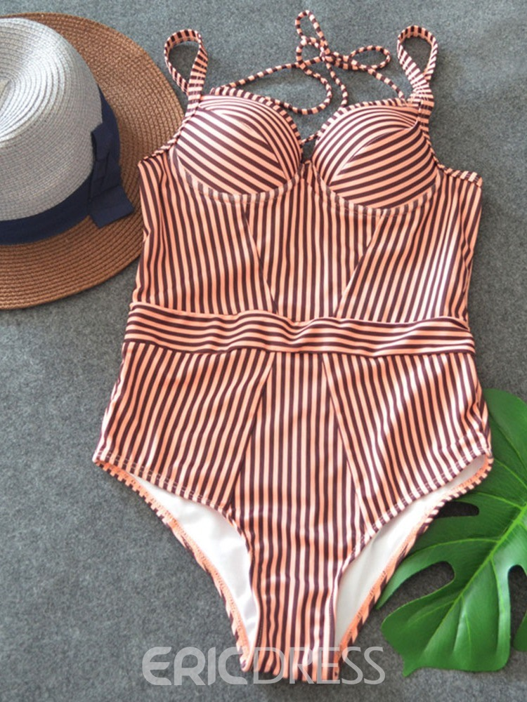 Ericdress Stripe Color Block Lace-up Sexy Swimwear