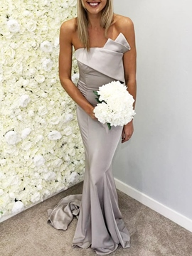 Ericdress Strapless Pleats Mermaid Bridesmaid Dress 2019