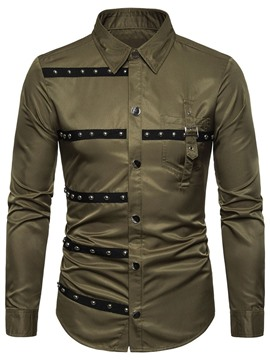 Ericdress Lapel Color Block Patchwork Mens Single-Breasted Shirt