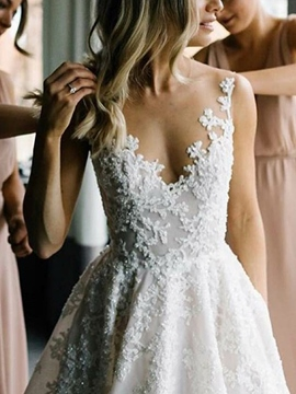 Ericdress V-Neck Appliques Wedding Dress 2019
