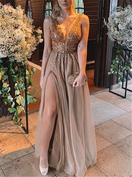 Ericdress V-Neck Split-Front Beading Evening Dress