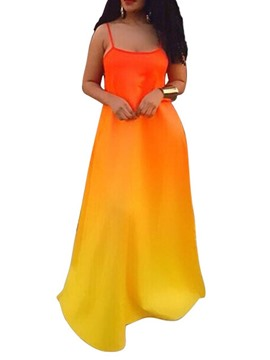 Ericdress Sleeveless Floor-Length A-Line Gradient Dress