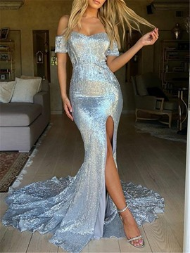 Ericdress Off-The-Shoulder Sequins Mermaid Evening Dress 2019