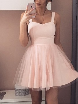 Ericdress A-Line Short/Mini Spaghetti Straps Sleeveless Homecoming Dress