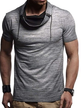 Ericdress Patchwork Heap Collar Color Block Slim Mens Short Sleeve T-shirt