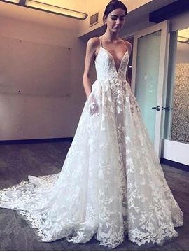 Ericdress Spaghetti Straps Pockets Lace Wedding Dress 2019