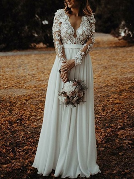 Ericdress Flowers Split-Front Long Sleeve Beach Wedding Dress 2019