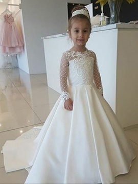 Ericdress Long Sleeves Lace Appliques Flower Girl Dress 2019