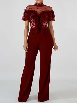 Ericdress Plain Lace See-Through Slim Straight Jumpsuit