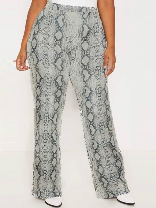 Ericdress Plus Size Serpentine Print Loose High Waist Casual Pants