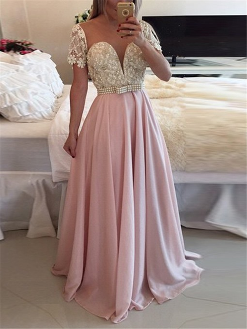 Ericdress A-Line Short Sleeves Evening Dress 2019 With Beadings