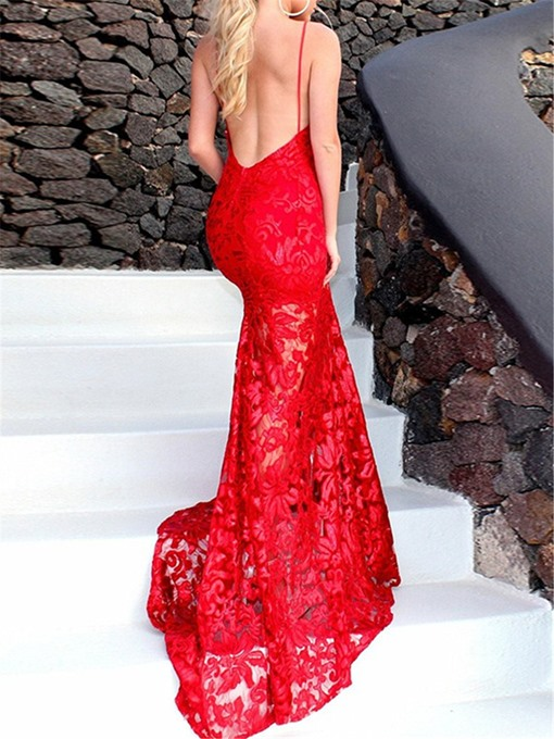Ericdress Halter Lace Backless Mermaid Evening Dress 2019