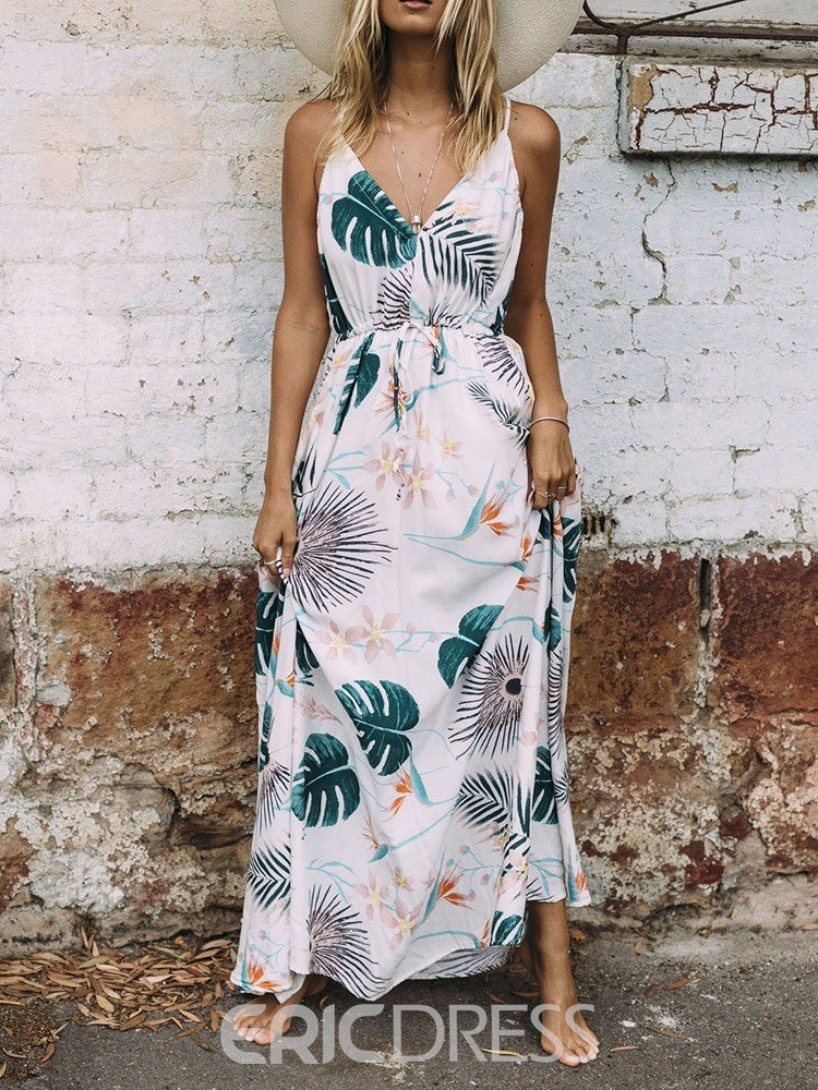 Ericdress Print Floor-Length V-Neck Bohemian Mid Waist Dress