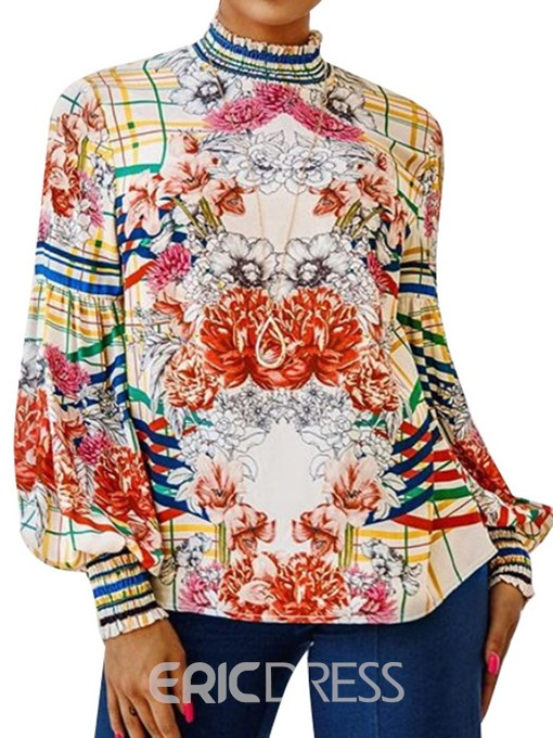 Ericdress African Fashion Print Stand Collar Floral Blouse