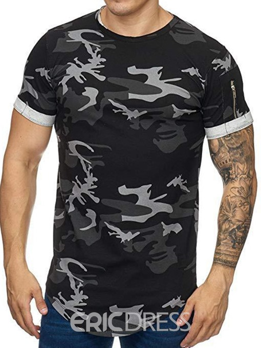 Ericdress Casual Round Neck Zipper Short Sleeve Mens Slim T-shirt
