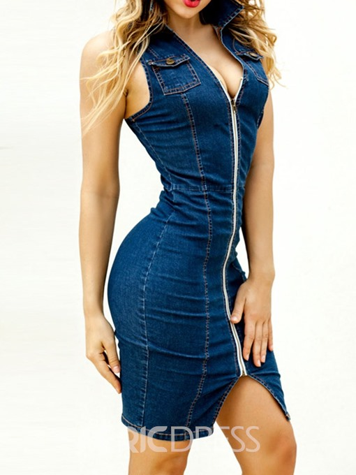 Ericdress Denim Pocket Sleeveless Above Knee Pencil Mid Waist Dress