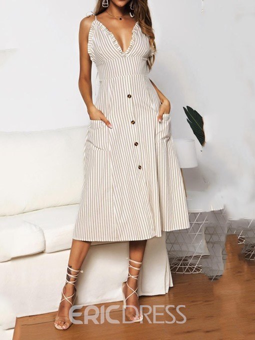 Ericdress Sleeveless Mid-Calf Stringy Selvedge Striped High Waist Dress