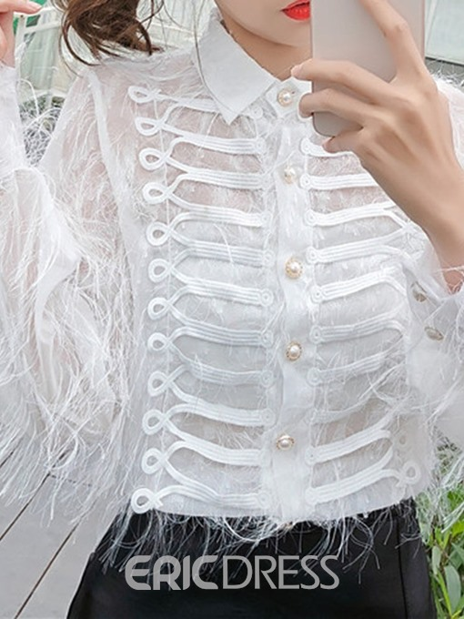 Ericdress Button See-Through Fashion Blouse