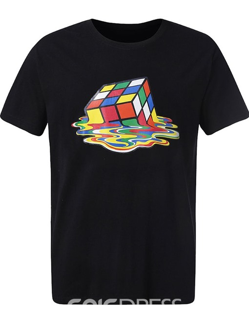 Ericdress Casual Print Color Block Mens T-shirt