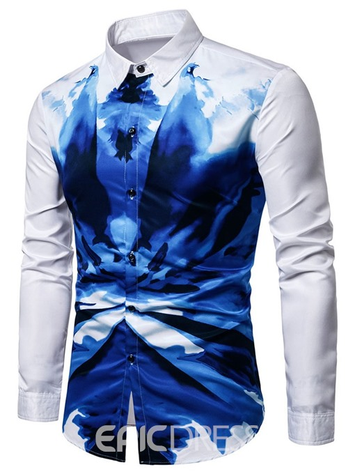 Ericdress Color Block Lapel Print Single-Breasted Mens Summer Shirt