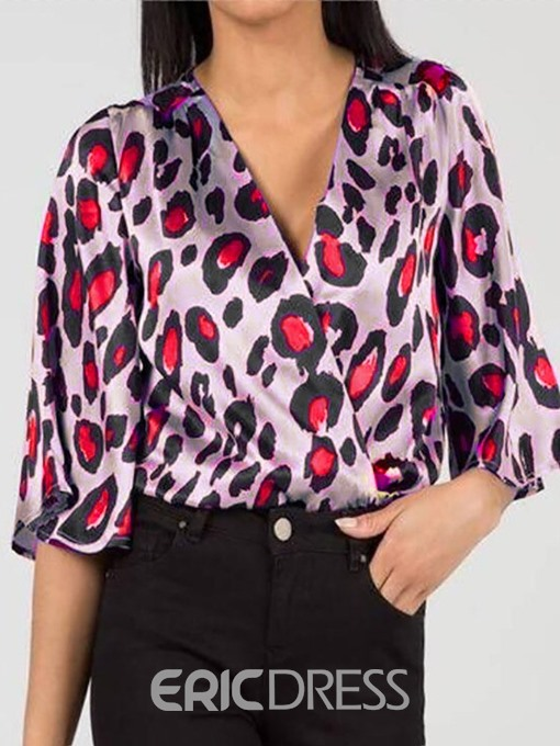 Ericdress V-Neck Leopard Casual Standard Blouse
