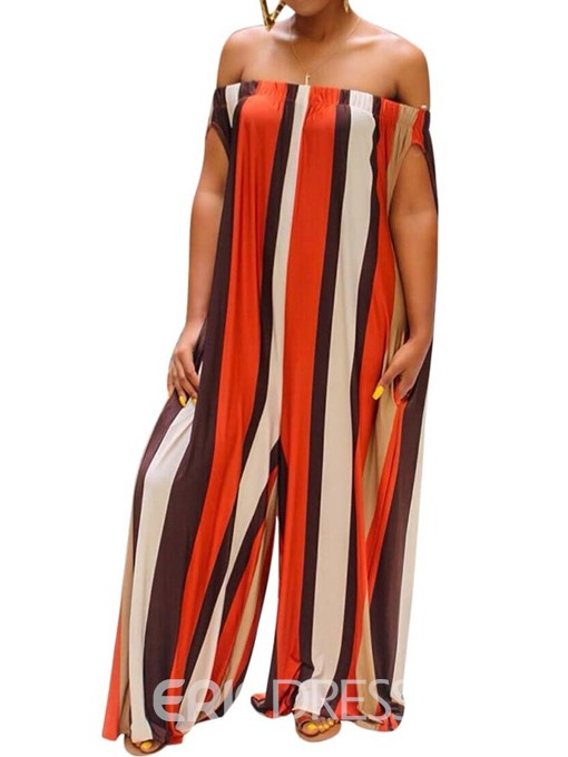 Ericdress Print StripeOff Shoulder Loose Full Length Jumpsuit