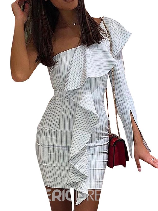 Ericdress Split Stringy Selvedge Oblique Collar Bodycon Asymmetrical Dress