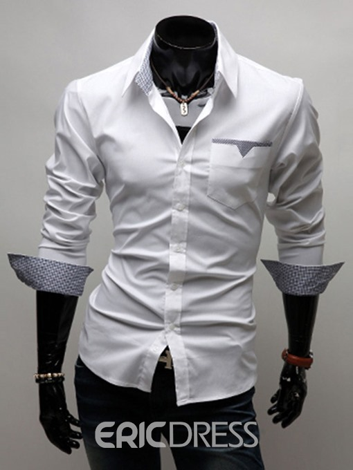 Ericdress Lapel Color Block Casual Slim Mens Summer Shirt