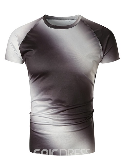 Ericdress Gradient Round Neck Casual Slim Mens Short Sleeve T-shirt