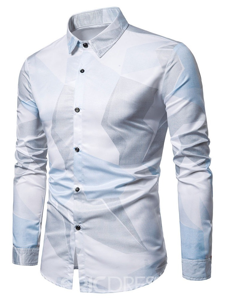 Ericdress Casual Button Color Block Summer Mens Slim Shirt