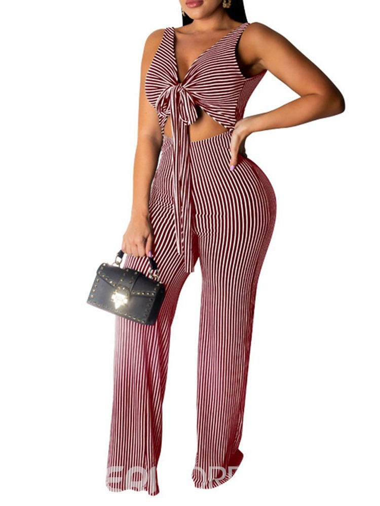 Ericdress Lace-Up Color Block Stripe Slim Jumpsuit