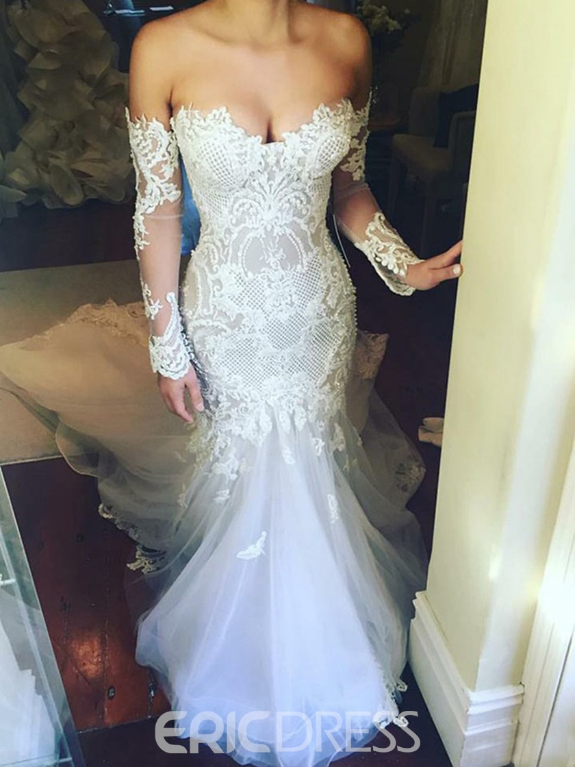 Ericdress Off the Shoulder Long Sleeve Lace Wedding Dress