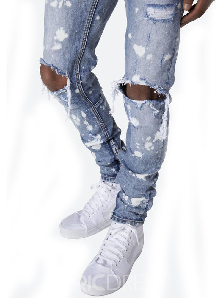 Ericdress Pencil Pants Hole Mid Waist Mens Jeans
