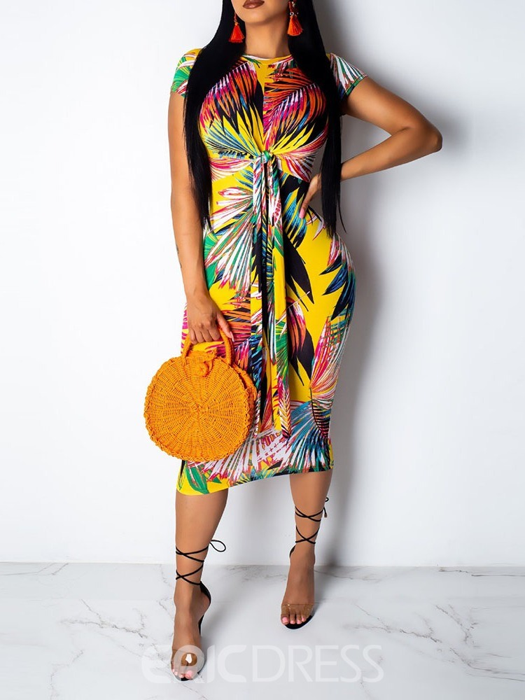 Ericdress Lace-Up Mid-Calf Plant Print Travel Look Mid Waist Dress