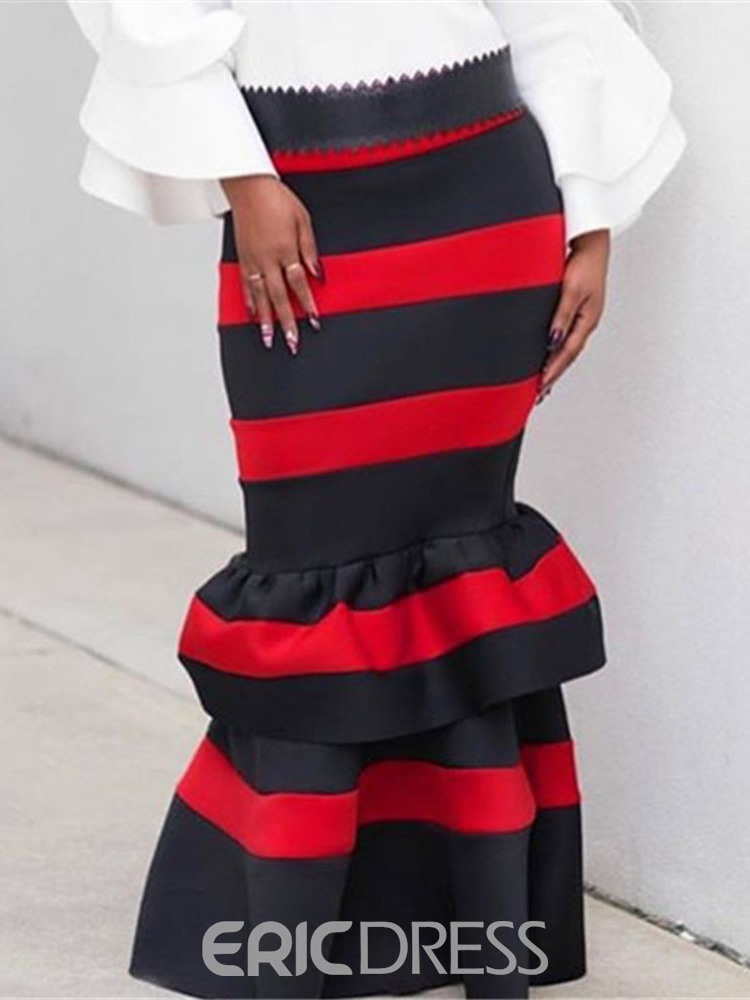Ericdress Mermaid Ankle-Length Color Block Fashion Skirt