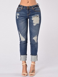 Ericdress Worn Holes Revers Washable Jeans thumbnail