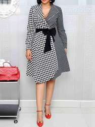 ericdress / Ericdress Notched Lapel Houndstooth Asymmetric Color Block Dress