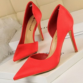 Ericdress PU Pointed Toe Slip-On Stiletto Heel Women's Pumps