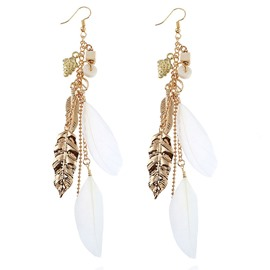 Ericdress European White Feather Earrings