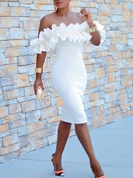 Ericdress Ruffles Sexy Party Off Shoulder Cheap Prom Dresses
