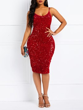 Ericdress Above Knee Sequins Sleeveless Bodycon Party Dress