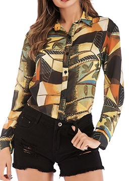 Ericdress Regular Print Lapel Long Sleeve Casual Blouse