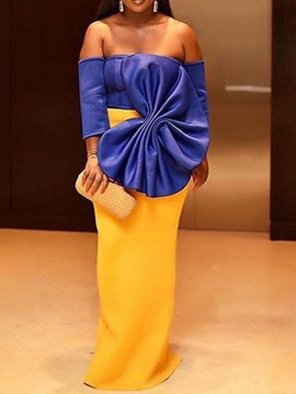 Ericdress Off Shoulder Floor-Length Bowknot Party Color Block Dress