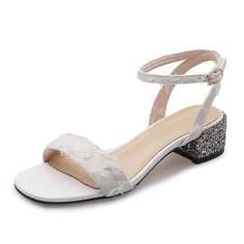 Ericdress Sequin Buckle Chunky Heel Ankle Strap Women's Prom Shoes