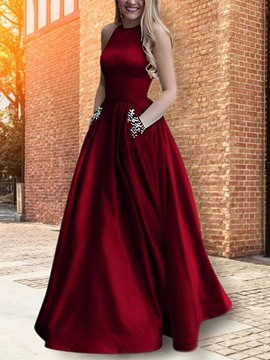 Ericdress Halter Beading Pockets Prom Dress