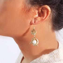Ericdress Pearl Plain Golden Earrings