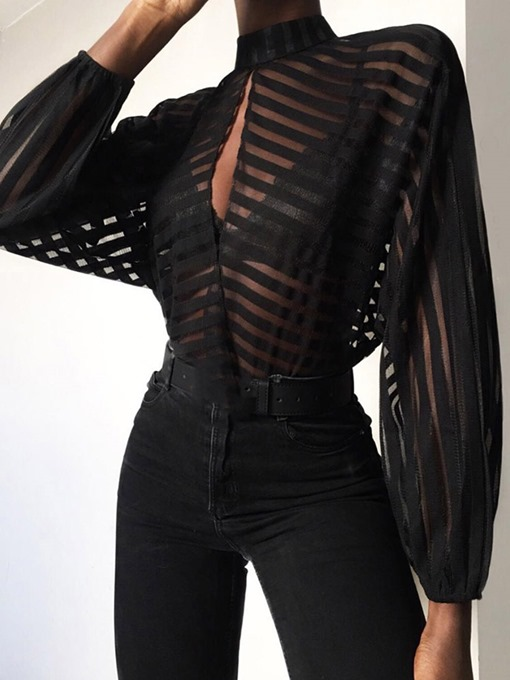 Ericdress Patchwork See-Through Sexy Blouse