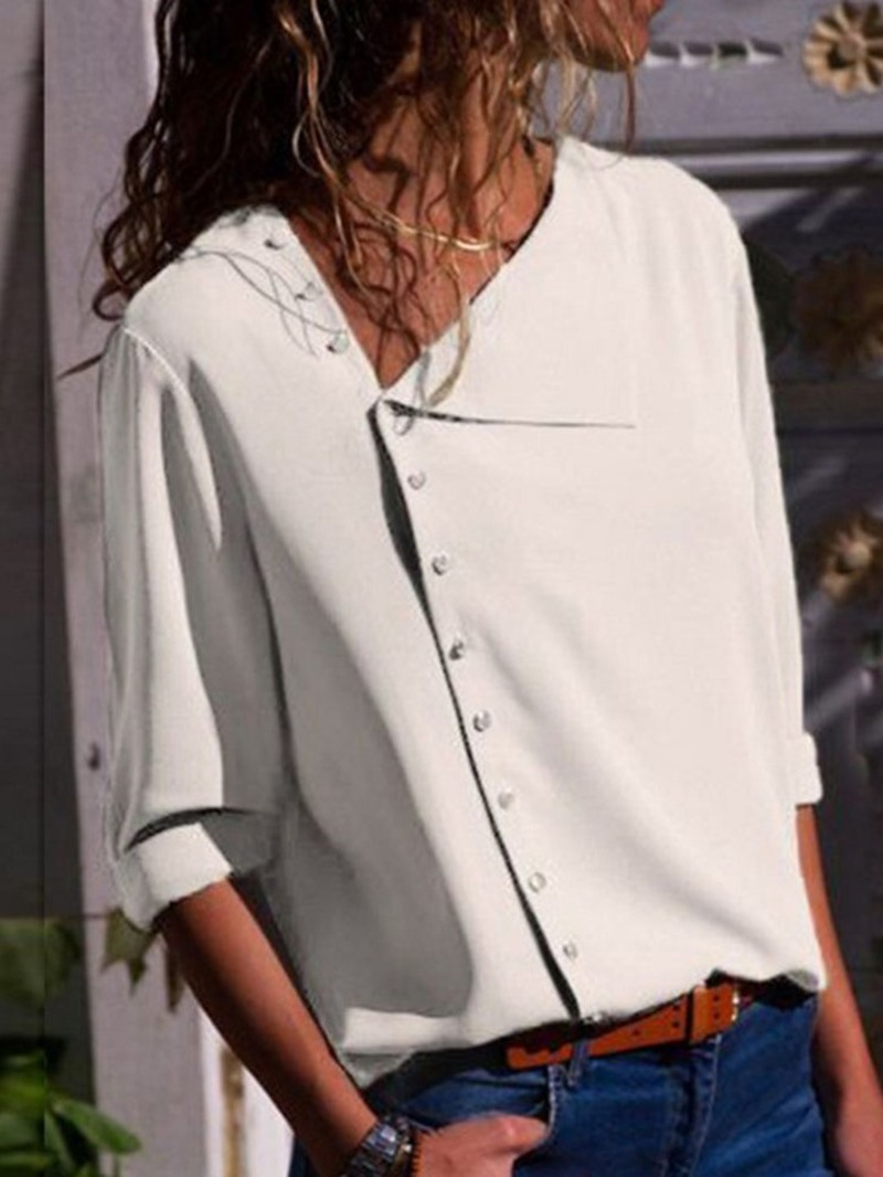 Ericdress Patchwork Button Casual Blouse